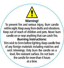 50 Candle Warning - Instruction Labels  50mm Diameter  Professionally Printed
