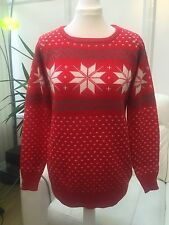 WOMENS LADIES CHRISTMAS SNOWFLAKE WOOL JUMPER SWEATER SIZE S M