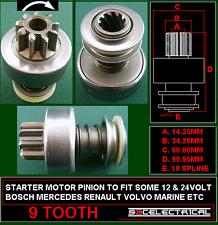Nueva unidad de motor de arranque 9 DIENTES PIÑÓN PARA ADAPTARSE BOSCH las agujas del reloj Rotación 131065