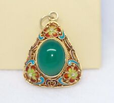 Gold over SS Chrysophrase Gemstone/Triangle shaped Pendant w/ beautiful Detail