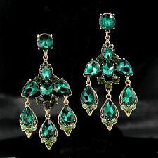 orecchini Grandi A perno Dorato Art Deco Candeliere Verde Smeraldo Matrimonio