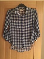 women's HOLLISTER long Sleeve Blue Fashion Checked top Size M FREE SHIPPING mnt
