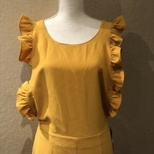 Free Press Womens Jumpsuit Yellow Size M Ruffled Open-Back Crop