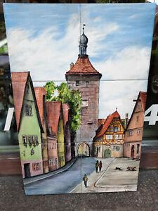Rothenburg ob der Tauber Fließen Keramik Wandbild handgemalt, signiert Fischer