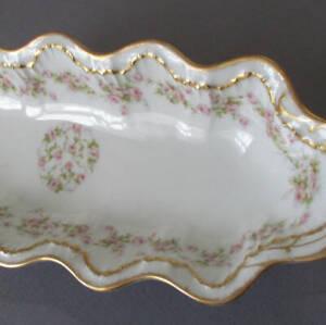 """Antique HAVILAND Porcelain 12"""" Long Bowl PINK ROSES Double GOLD * Schleiger 844"""