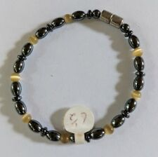 "Magnetic Hematite Healing Womens Yellow Crystal Bead Bracelet 6.5"""