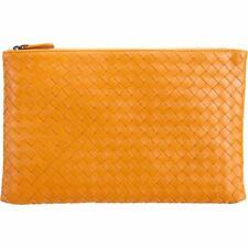 Intrecciato Nappa Flat Zip Case Travel Wallet Clutch Bag - Genuine Leather