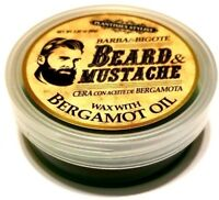 BEARD & MUSTACHE Wax w/ BERGAMOT OIL Barba & Bigote Cera Aceite Bergamota 2.82oz