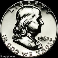 1962 Franklin Half Dollar ~ GEM Proof Uncirculated ~ 90% Silver US Coin