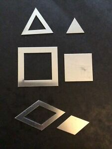 3 x Metal Patchwork Templates Triangle, Square, Diamond Quilting/Sewing
