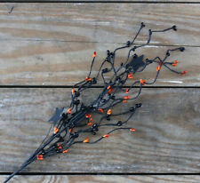 Halloween Floral Picks Set/2 Black Orange Pip Berries Stars Primitive Decor 24""