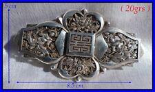 Broche en Argent Indochine 1900 Divinités Idéogramme du Bonheur & Chrysanthèmes