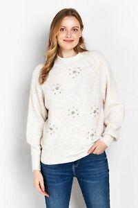 Wallis Womens PETITE Pink Embellished Jumper Sweater Pullover Top Knitwear