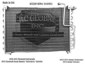 70 71 72 73 74  Dodge Plymouth Charger Barracuda AC Condenser A/C AC3210 3441934