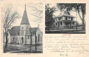 H68/ Indianola Iowa Postcard c1910 2View M.E. Church Parsonage 9