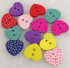 100pcs Mixed Color Love Heart Shape Wooden Buttons Fit Sewing/Scrapbook snk224