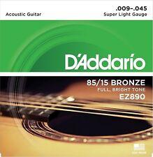 D'Addario EZ890 American Bronze Super Light (.009-.045) Acoustic Guitar Strings