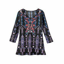 Womens Southwest Aztec Inspired Pattern Floral Long 3/4 Sleeve Tunic Top