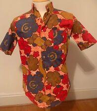 Rare Vintage Manhattan Rally Man Hawaiian Style Camp Shirt Cotton Btn Down M