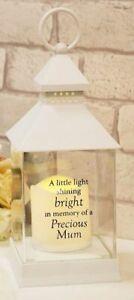 Memory Of MUM Graveside Grave Memorial Lantern Suitable Outdoors 27cm Battery