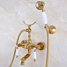 Wall Mount Polished Gold Brass Ceramic Handles Bathtub Faucet W/ Handheld Spray