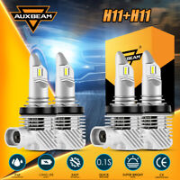 AUXBEAM H11 H9 LED Headlight Bulbs Kit 6000K White Bright High + Low Beam Combo