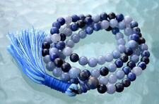 Fifth Throat Chakra Aquamarine Sodalite Lapis Lazuli Mala Beads For Communicatio