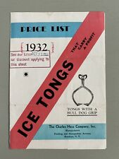 Vintage ICE TONGS Price List Catalog Brochure Trade Wholesale 1932 Charles Hess