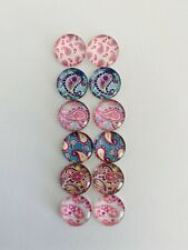 6 Pairs Of 12mm Glass Cabochons #1036