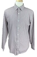Banana Republic Men's Slim Fit Non Iron Long Sleeve Red Check Shirt Large