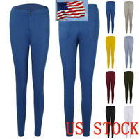 Women Pencil Stretch Casual Look Denim Skinny Pants High Waist Trousers DD2018