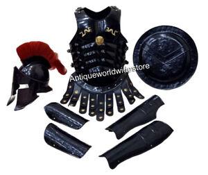 300 King Spartan Leonidas Helmet W/Red Plume Muscle Armor Jacket Leg Arm Guard