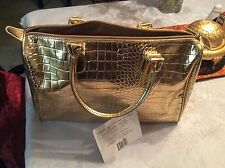 BCBG MAX AZRIA LUXURIOUS GOLD CROC EMBOSSED LARGE PURSE/TOTE.