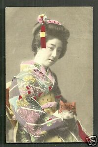 Geisha Cat red hair Costume handcoloured pc Japan 1910