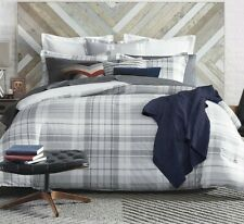 TOMMY HILFIGER Parker Plaid  3 Pc KING Comforter SET Gray White Grey