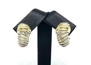 David Yurman 'Thoroughbred' 14K Gold Sterling Silver Shrimp Earrings