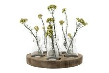 "10-1/4"" Round x 4-3/4""H Wood Tray w/ 6 Glass Vases, Set of 7"