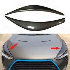2x For Hyundai Veloster 2011-17 Carbon Fiber Headlamp Light Brow Decorative Trim