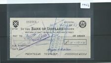 CHEQUE - CH1423 -  USED -1960's - BANK OF SCOTLAND, DUNDEE