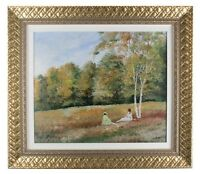 """""""Reading in the Park"""" by Montrec, Oil on Canvas, 20"""" x 24"""" Framed 1970"""
