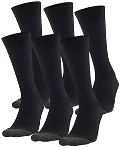 6 PAIRS of Under Armour Men's Size 9-13 Tech Crew Socks Black Adult 1348013 001