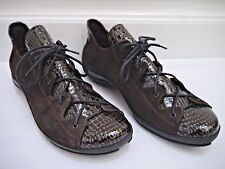 ARCHE dark brown suede croc patent lace up sneaker style flats shoes US 7.5