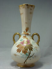 "ANTIQUE 9 1/2"" HAND PAINTED DOUBLE HANDLED  GOLD DETAILED FLORAL VASE"