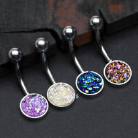 Iridescent Druzy Sparkle Steel Belly Button Ring - Choose Color