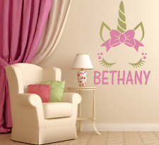 """UNICORN CLOSED EYES W/ BOW PERSONALIZED NAME LARGE WALL DECAL VINYL ART 22"""" TALL"""
