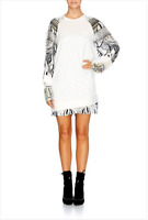 new CAMILLA FRANKS SILK COTTON SWAROVSKI WILD BELLE JUMPER TOP W RAGLAN SLEEVE