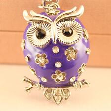 Purple Owl Fashion Keychain Rhinestone Charm Chain Cute Gift 01162