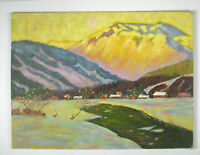 Acrylic Painting Landscape Unframed 12 x 16 Inch Abstract Canvas Mountain Valley