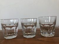 3 Marked Libbey Duratuff 8 Panel 10 ounce Rocks Low Ball Glasses Tumblers