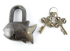 Fearless Fish Tibet Buddhist Vintage Style Brass PadLock Lock 2